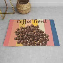 Coffe Time Vintage Retro Style, Coffee Lover Design Rug