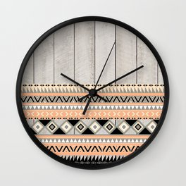 Peach Coral Andes Abstract Aztec Tribal Gray Wood Wall Clock