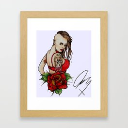 Tats on Girls Vol.1 - Brown Sidecut with owl sleeve Framed Art Print