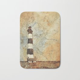 Fine art watercolor painting of Bodie Island lighthouse at sunset in the Outer Banks (OBX) of North Carolina- USA Bath Mat