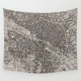 Vintage Map of Paris France (1837) Wall Tapestry