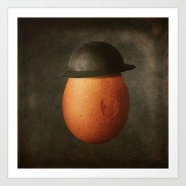 Vintage Egg in Brodie Helmet Art Print