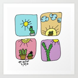 Colorful Cactus!  Art Print