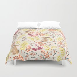 rabbits field Duvet Cover