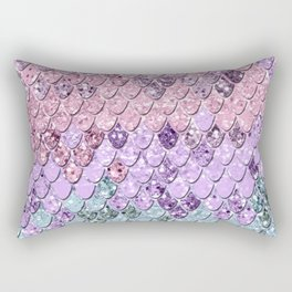 Mermaid Scales with Unicorn Girls Glitter #1 #shiny #pastel #decor #art #society6 Rectangular Pillow