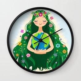 Beautiful Flowing Flower Earth Mother Figure Wall Clock