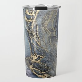 Blush, Payne's Gray and Gold Metallic Abstract Travel Mug