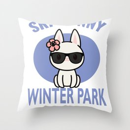 Winter Park Ski Bunny Print for Skiing Vacation Throw Pillow