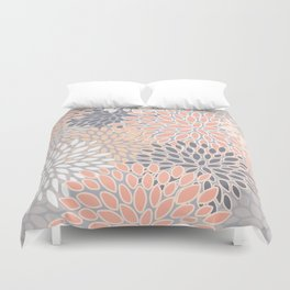 Flowers Abstract Print, Coral, Peach, Gray Duvet Cover