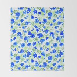 Floret (Blue) Throw Blanket