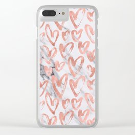 Hearts Rose Gold Marble Clear iPhone Case