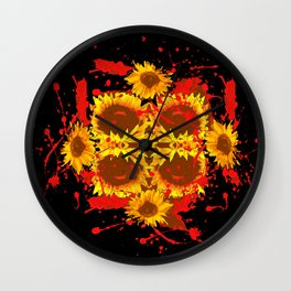 """""""SUNFLOWERS HAVING BLOODY GOOD TIME"""" Wall Clock"""