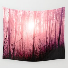 Pink fog in the forest Wall Tapestry