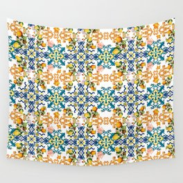Sicilian vintage summer blue tiles pattern with lemon and kiwi Wall Tapestry
