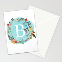 Personalized Monogram Initial Letter B Blue Watercolor Flower Wreath Artwork Stationery Cards