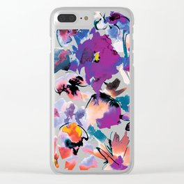 Sara Floral Blue Clear iPhone Case