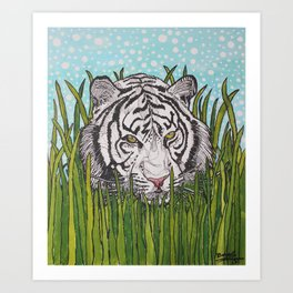 White tiger in wild grass Art Print