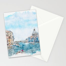 Aquarelle sketch art. View from the bridge in Venice, Italy Stationery Cards