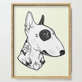 Bull Terrier dog Tattooed Serving Tray