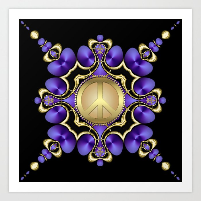 Purple Satin Golden Peace Art Print