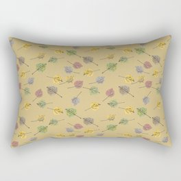 Colorado Aspen Tree Leaves Hand-painted Watercolors in Golden Autumn Shades on Jute Beige Rectangular Pillow
