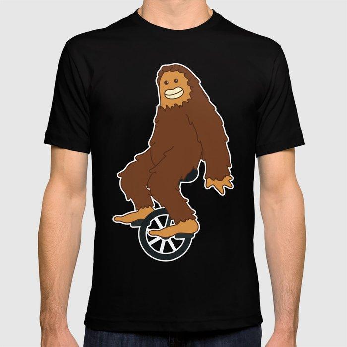 d36247716 Funny Bigfoot Riding Unicycle gift idea yeti sasquatch hide & seek T-shirt