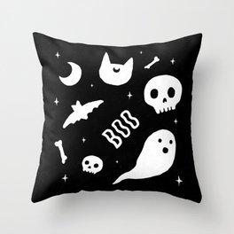 Halloween Pattern Black & White Throw Pillow