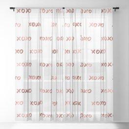 XOXO Fashion Love Rose Gold Pattern 2 Sheer Curtain