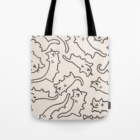 cats Tote Bags featuring Floating Cats by Kitten Rain