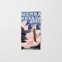 Sierra Nevada Spain ski poster. Hand & Bath Towel