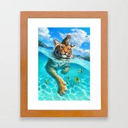 A small swim for a tiger Framed Art Print