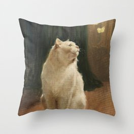 White Cat and Two Brimstone Butterflies by Arthur Heyer Throw Pillow