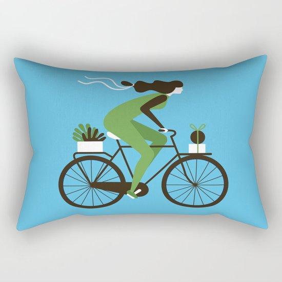 Woman on a Bicycle Rectangular Pillow