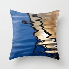 Blue white abstract Throw Pillow