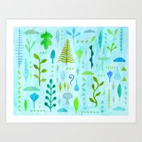 botanical Art Prints featuring Botanical by messy bed studio