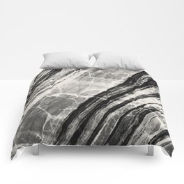 Abstract Marble - Black & Cream Comforters