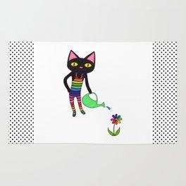 Black Cat Wearing Rainbow Unitard While Gardening Rug