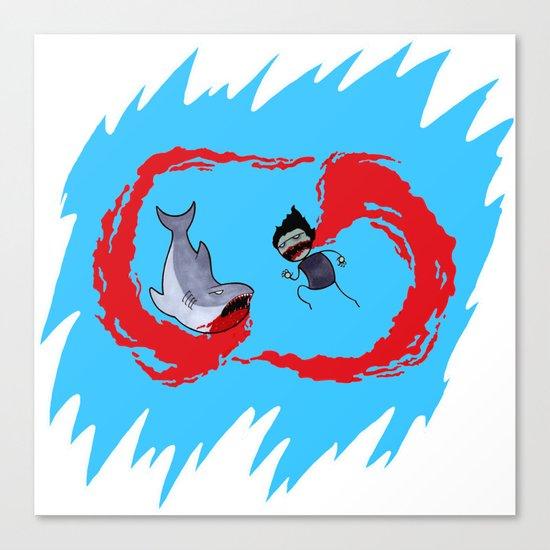 Zombie vs Shark! Canvas Print