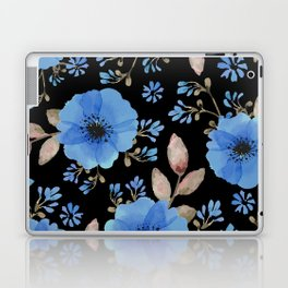 Blue flowers with black Laptop & iPad Skin