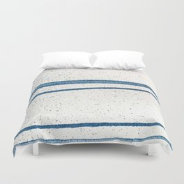 Parallel Universe [horizontal]: a pretty, minimal, abstract piece in lines of vibrant blue and white Duvet Cover