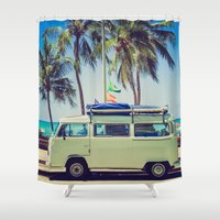 vw bus Shower Curtains featuring VW Bus Beach Vacation by Limitless Design