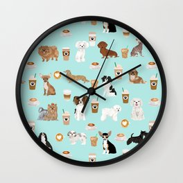 Coffee Dogs cute miniature dog breeds chihuahua bichon terrier Shih tzu pomeranian latte coffees Wall Clock