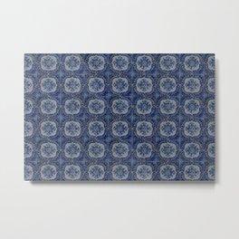 Vintage blue ceramic tiles pattern Metal Print