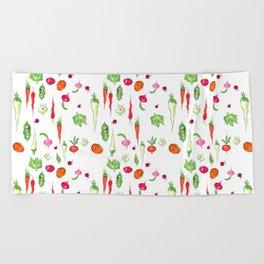 Veggie Party Pattern Beach Towel