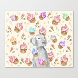 CUPCAKES AND WEIMARANER Canvas Print