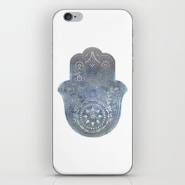 Silver Blues Hamsa Hand iPhone Skin
