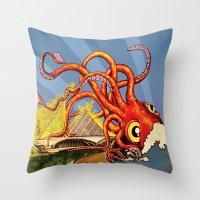 milwaukee Throw Pillows featuring MILWAUKEE: What's Kraken, Milwaukee? by Amanda Iglinski