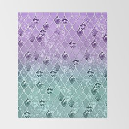 Mermaid Princess Glitter Scales #3 #shiny #pastel #decor #art #society6 Throw Blanket