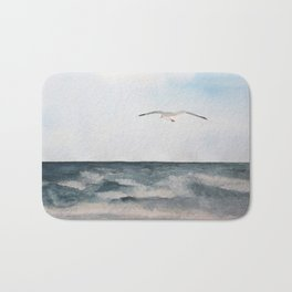 Seagull flying over the Ocean Watercolor Art Bath Mat