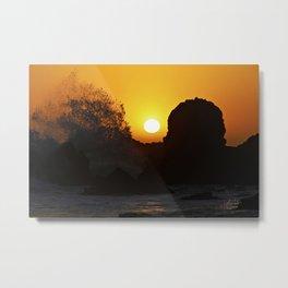 Sunset Crashing Waves Metal Print